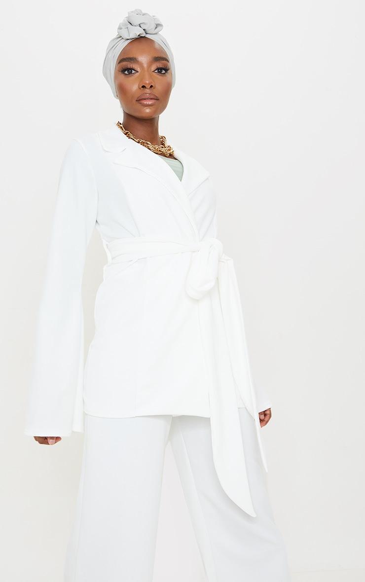 Cream Crepe Flare Sleeve Tie Jacket 1