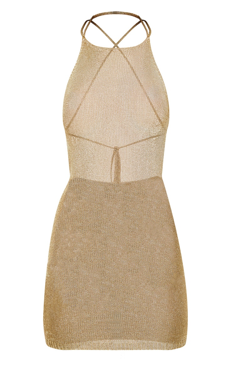Charlay Gold Sheer Metallic Knitted Halterneck Dress 3