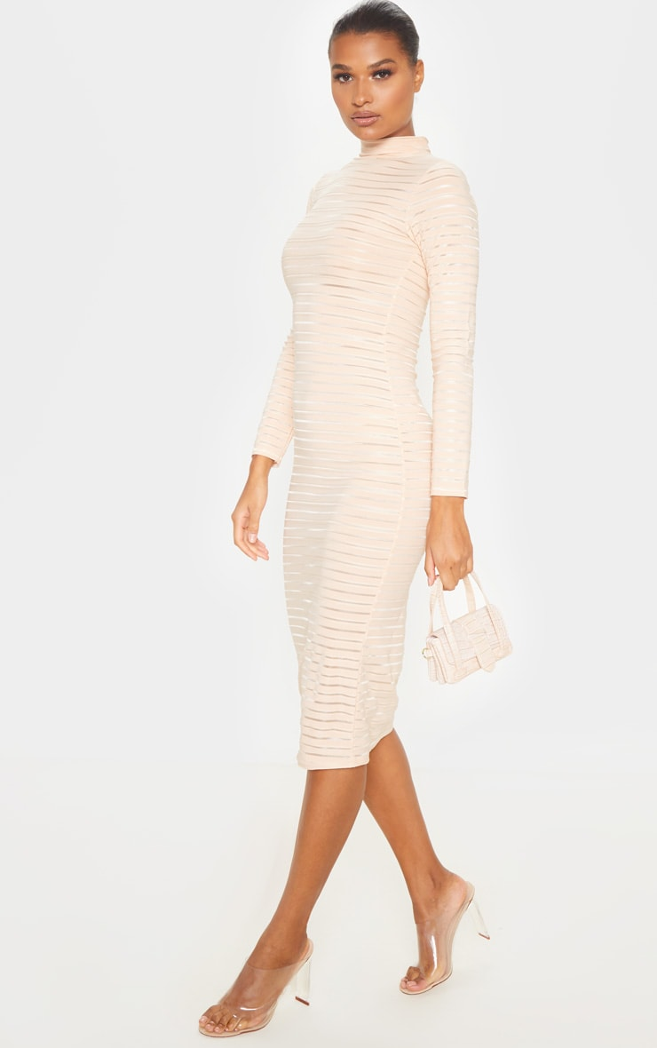 Nude Sheer Stripe Long Sleeve High Neck Midi Dress 4