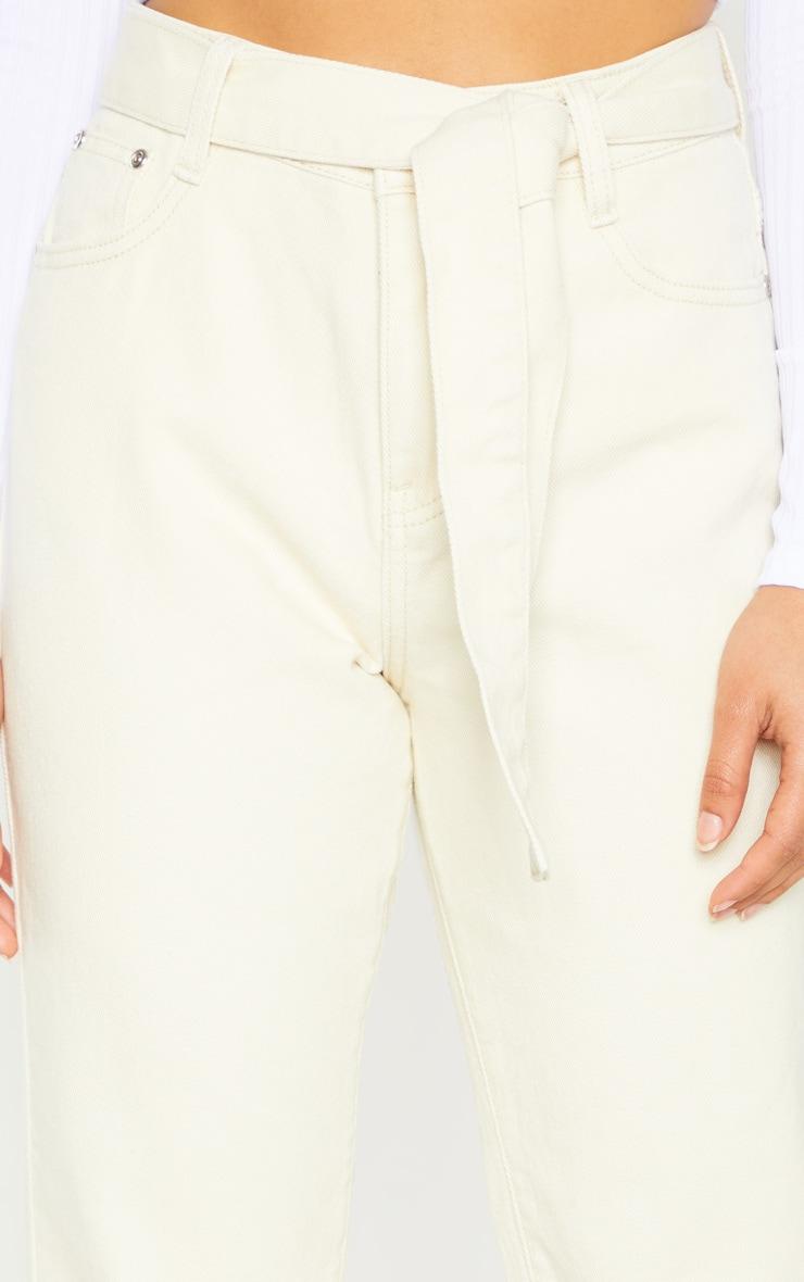 Petite Ecru Straight Leg Tie Belted Jeans 5