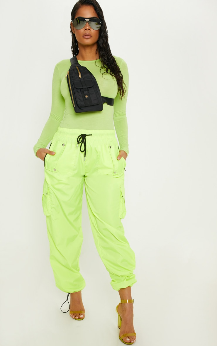 Basic Neon Lime Long Sleeve Fitted T Shirt 4