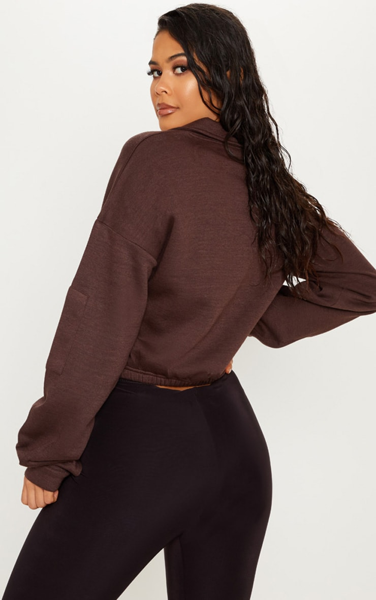 Chocolate Oversized Zip Front Sweater  2