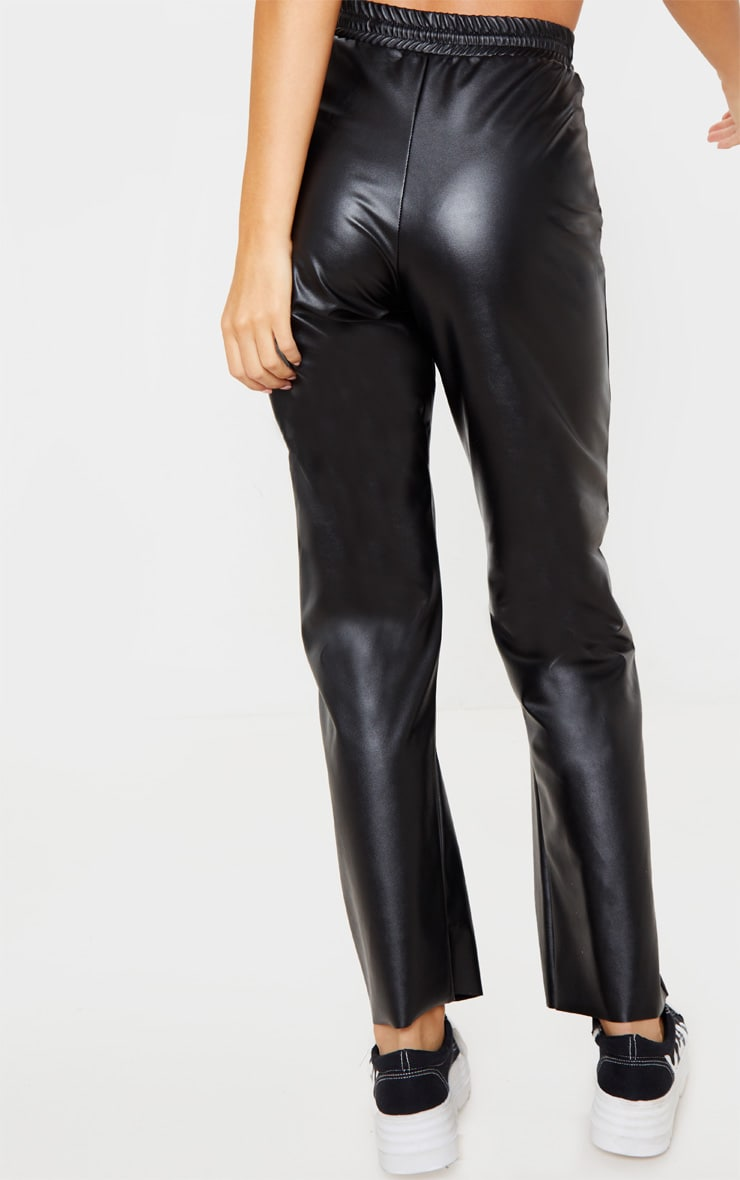 Black Faux Leather Joggers 4