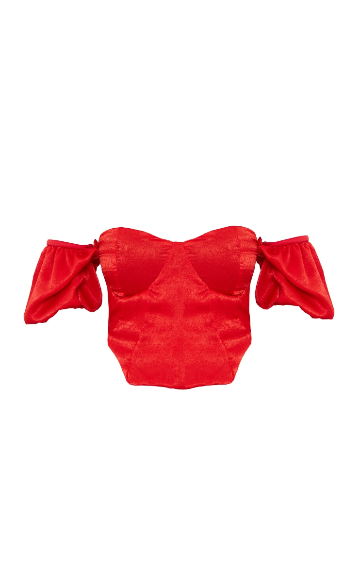 Red Satin Short Puff Sleeve Bardot Crop Top 5