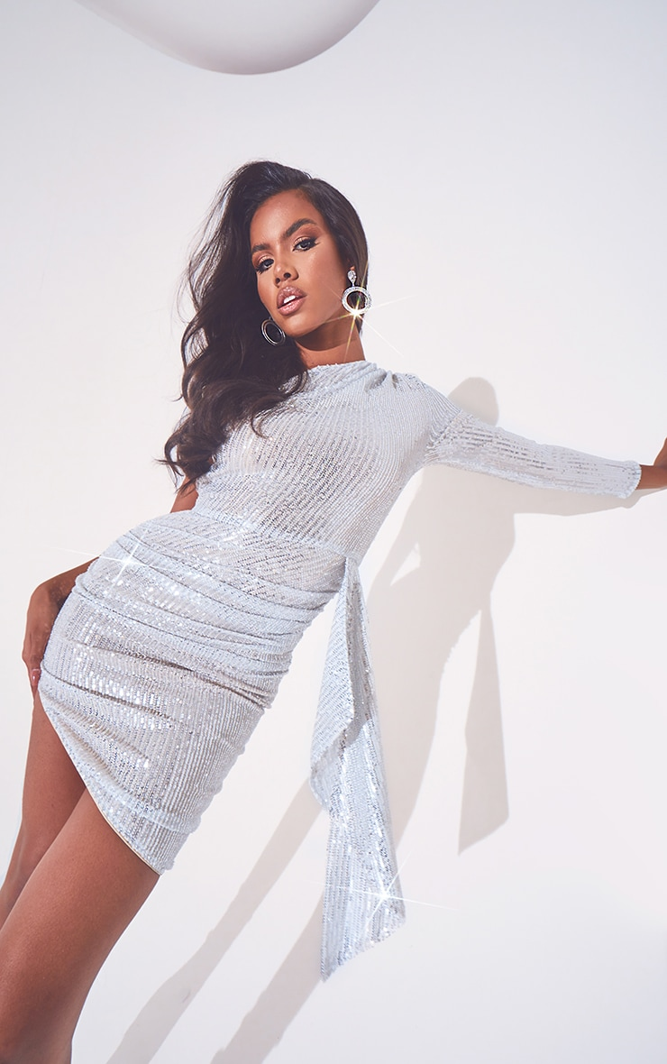 Silver Sequin One Shoulder Drape Detail Ruched Bodycon Dress 1