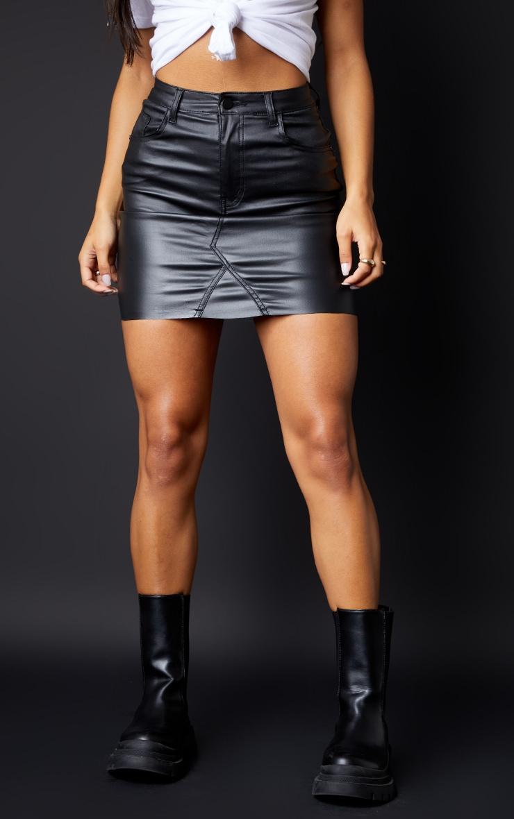 Black Coated Denim Extreme Mini Skirt 2