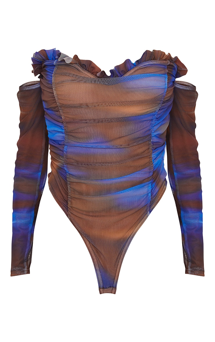 Blue Blur Printed Mesh Ruched Bardot Bodysuit 5