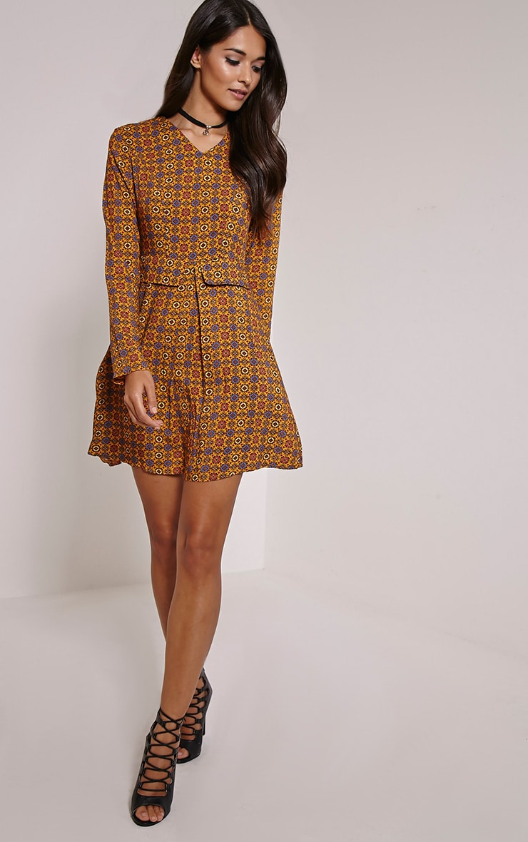 Rylah Orange Tile Print Dress 4