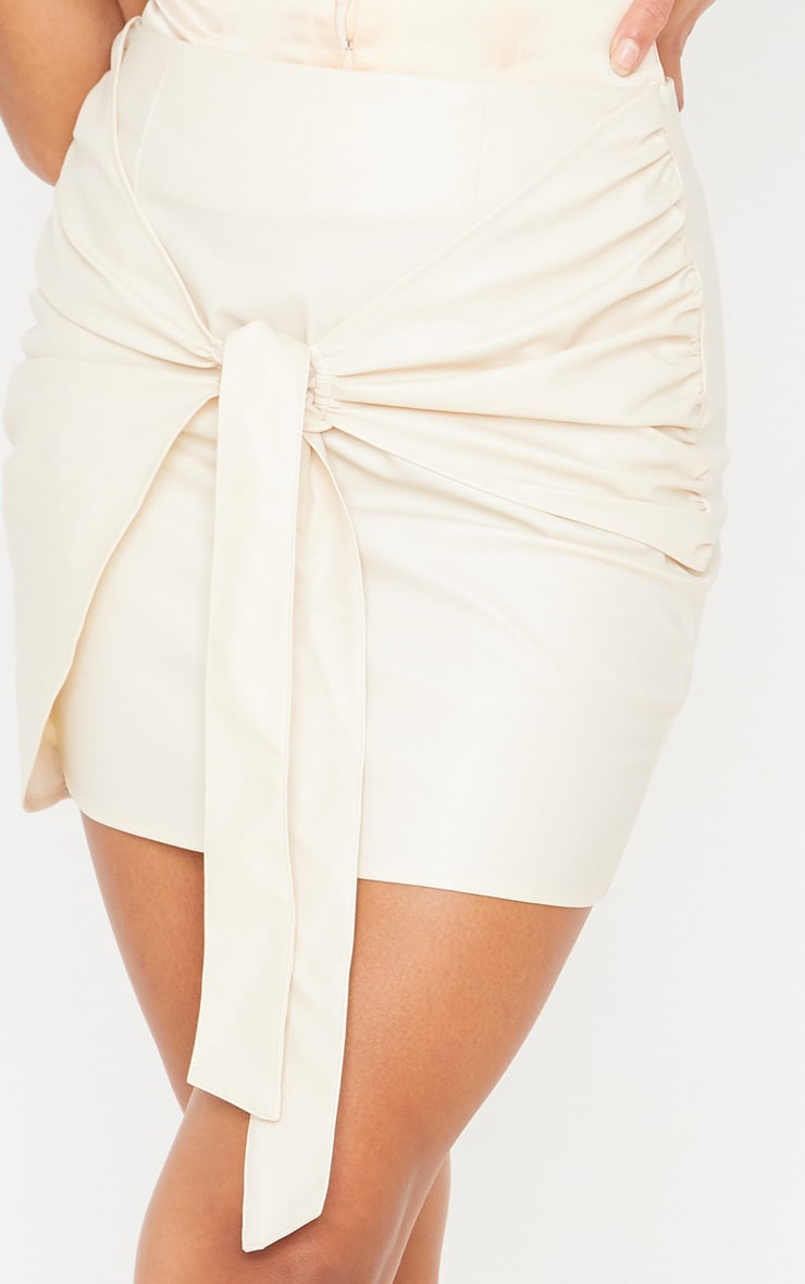 Cream Faux Leather Tie Front Mini Skirt 6