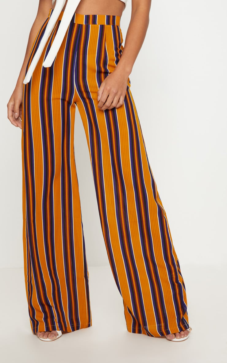 Petite Mustard Striped Wide Leg Trousers 2