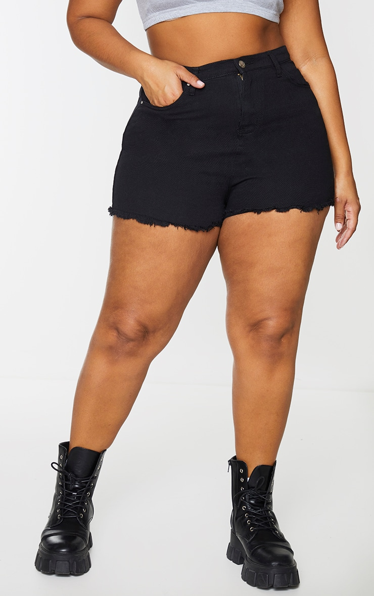 Plus Shelby High Waisted Black Denim Short 2