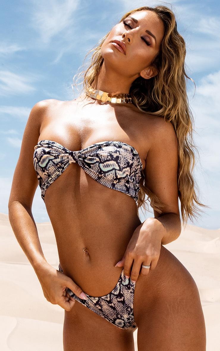 Brown Snake Bow Bikini Top 1