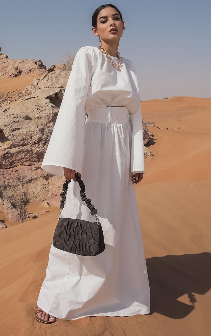 White Woven High Waist Detail Maxi Skirt 1