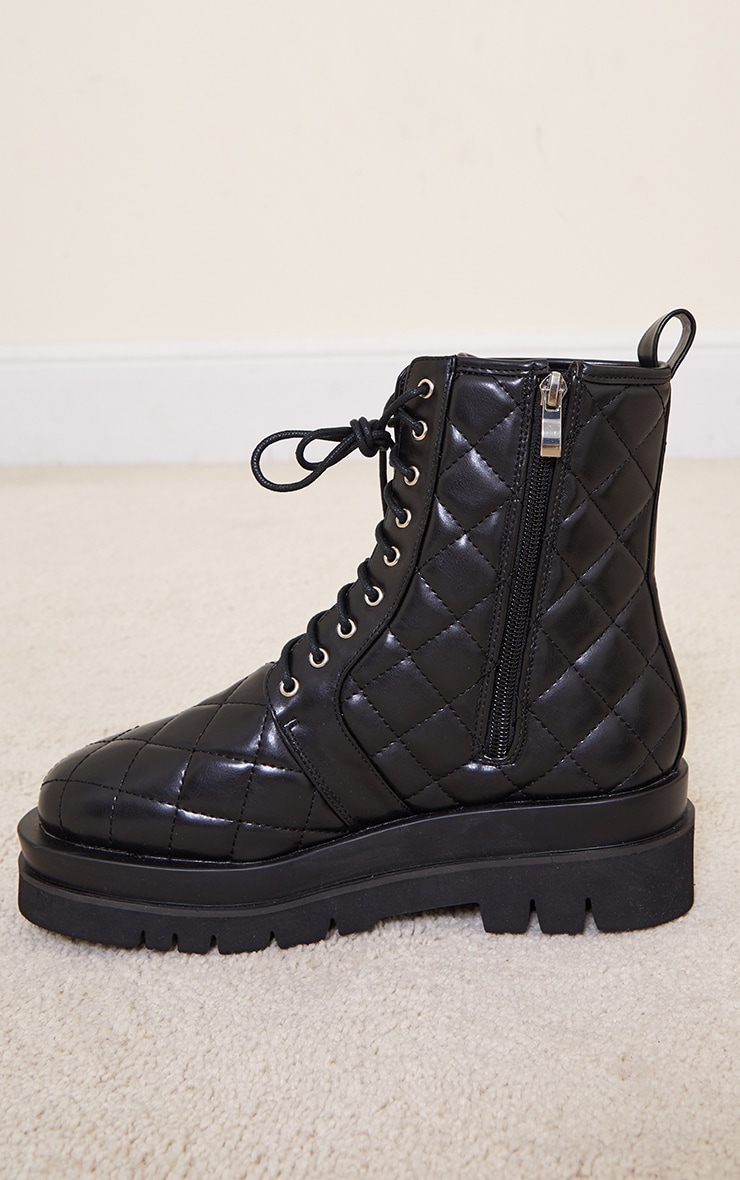 Black Quilted Lace Up Biker Boot 4