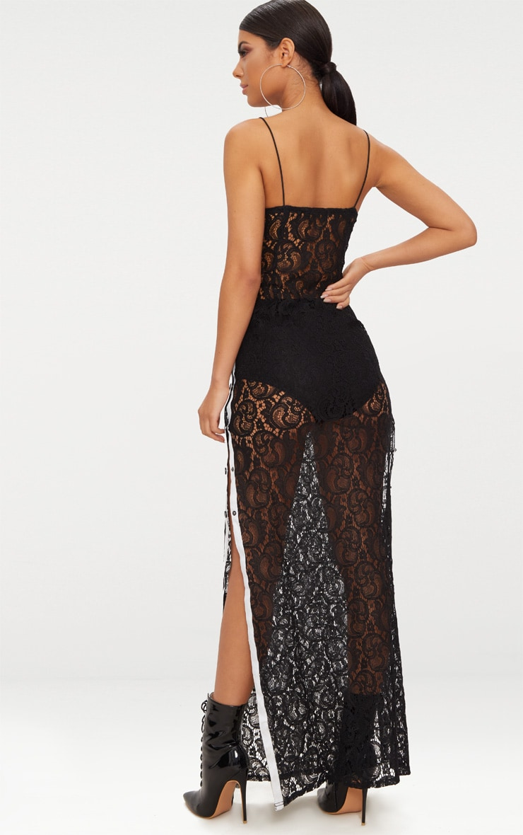 Black Strappy Sheer Lace Popper Side Maxi Dress 2
