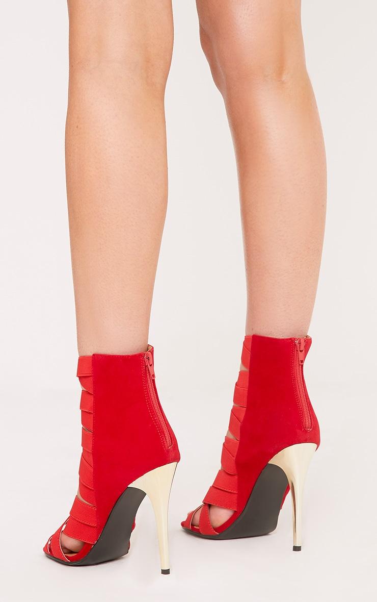 Noelle Red Elastic Heeled Sandals 4