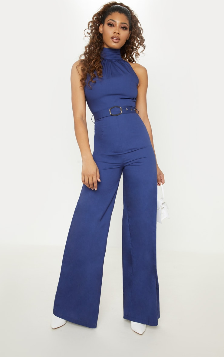 Tall Navy Belt Detail Woven Wide Leg Jumpsuit 1