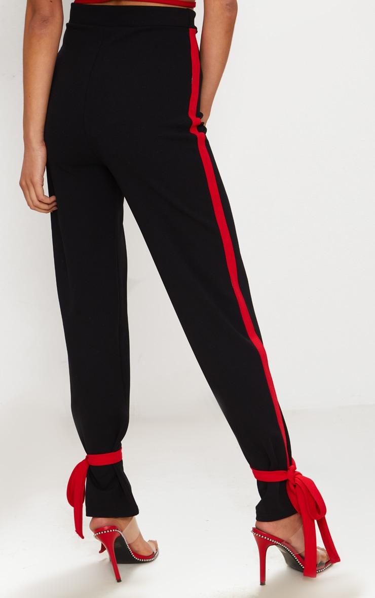 Black Contrast Stripe Tie Hem Trouser 4