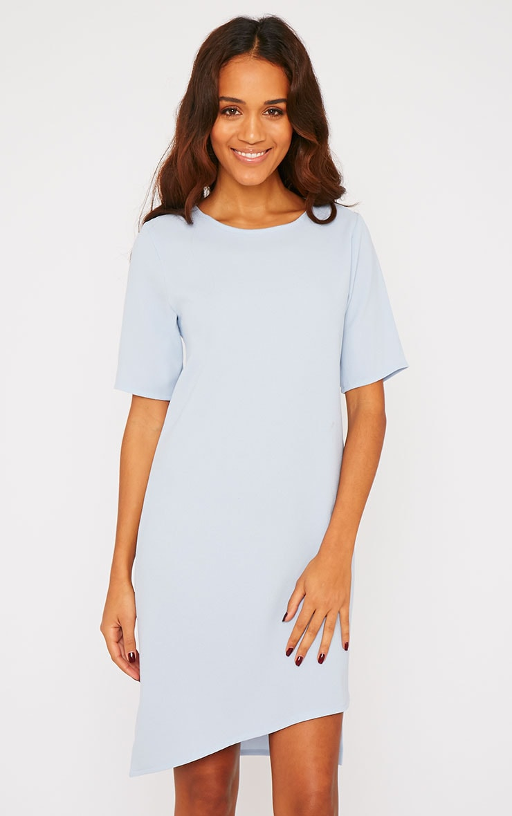 Chante Powder Blue Crepe Loose Fit Shift Step Hem Dress 1