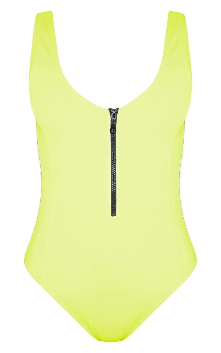 Yellow Zip Front Swimsuit 3