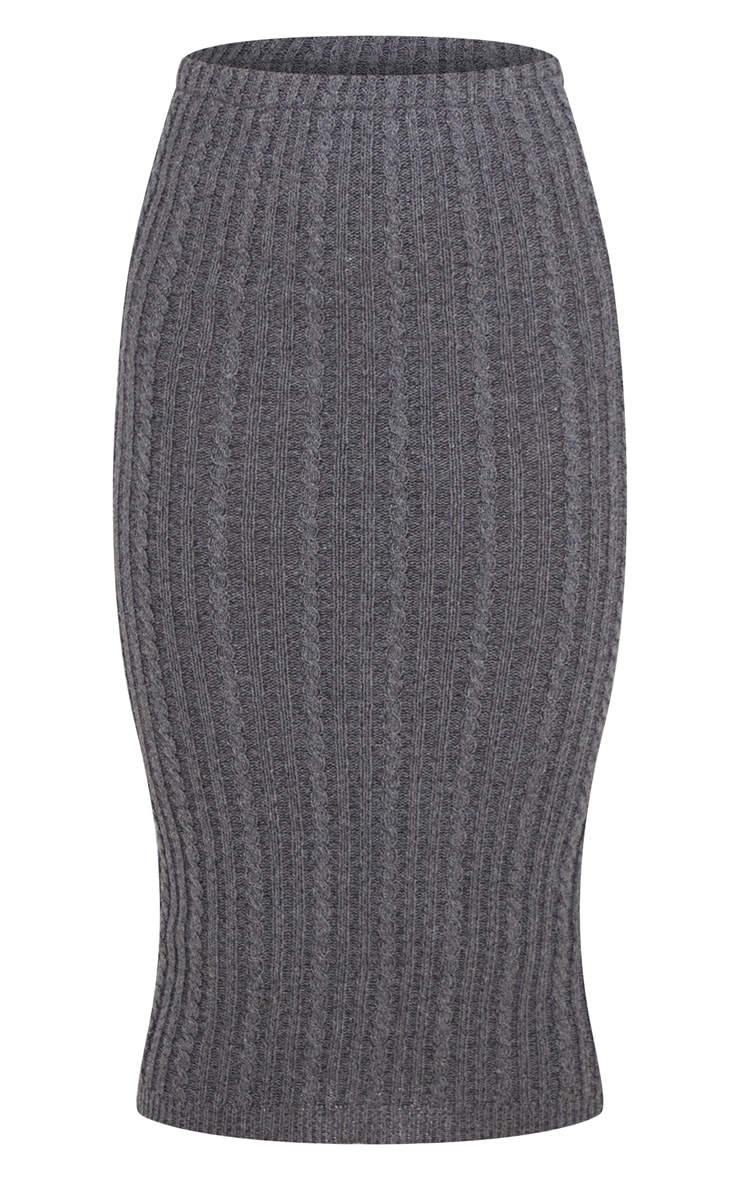 Petite Charcoal Knitted Midi Skirt 3