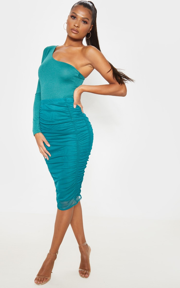 Emerald Green Second Skin Ruched Mesh Midi Skirt 5