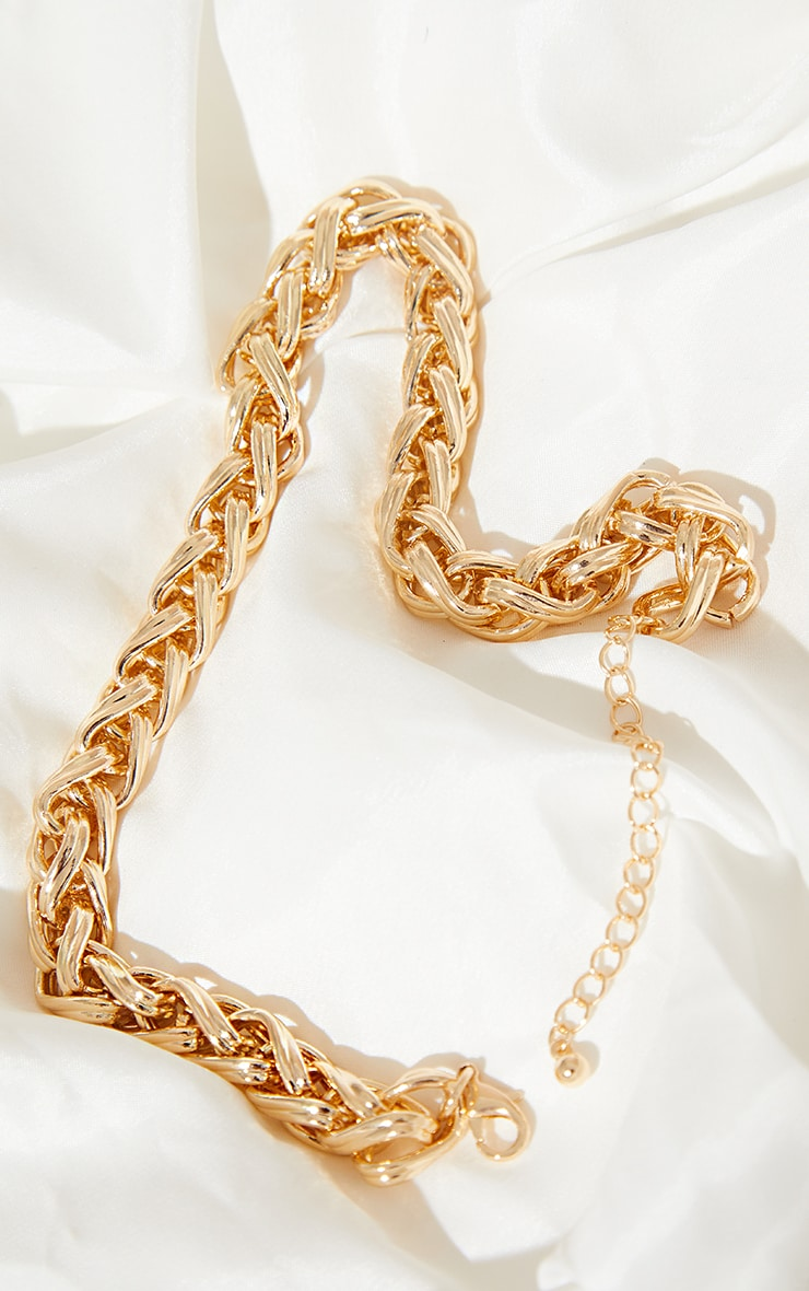 Gold Chunky Twist Chain Necklace 3