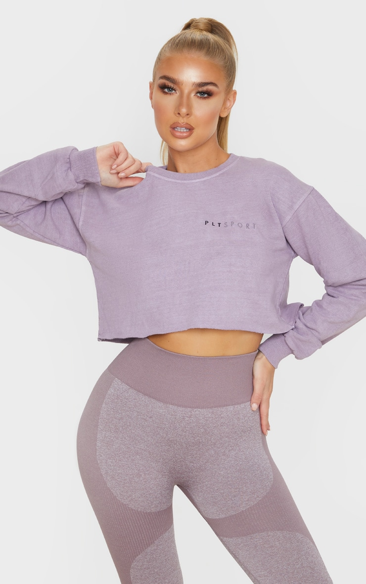 PRETTYLITTLETHING Mauve Cropped Sports Sweat 1