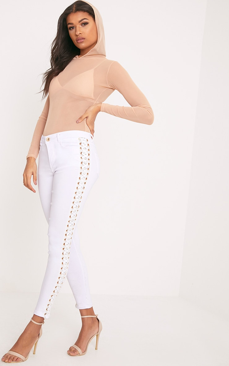 Arietta White Eyelet Lace Up Stretch Trouser 1