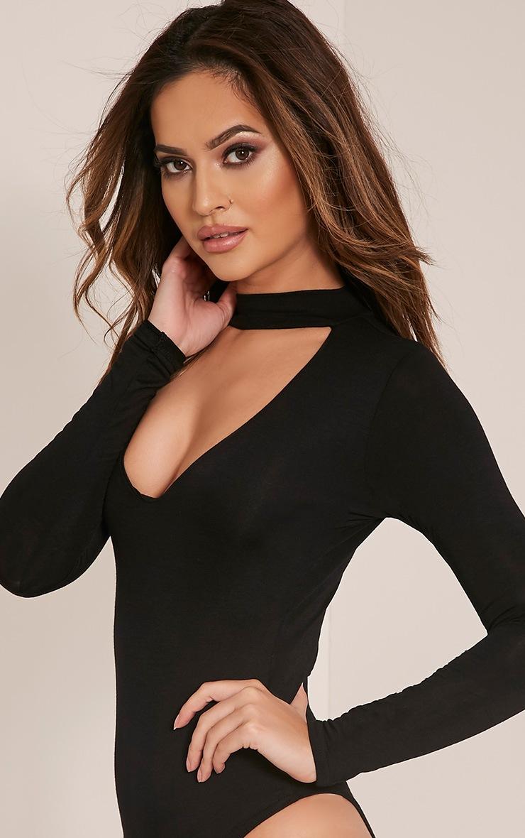Zena Black Cut Out Neck Long Sleeve Jersey Bodysuit 5