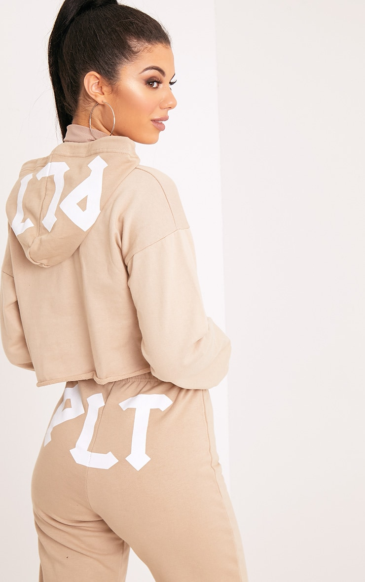 PLT Slogan Taupe Extreme Cropped Hoodie 2