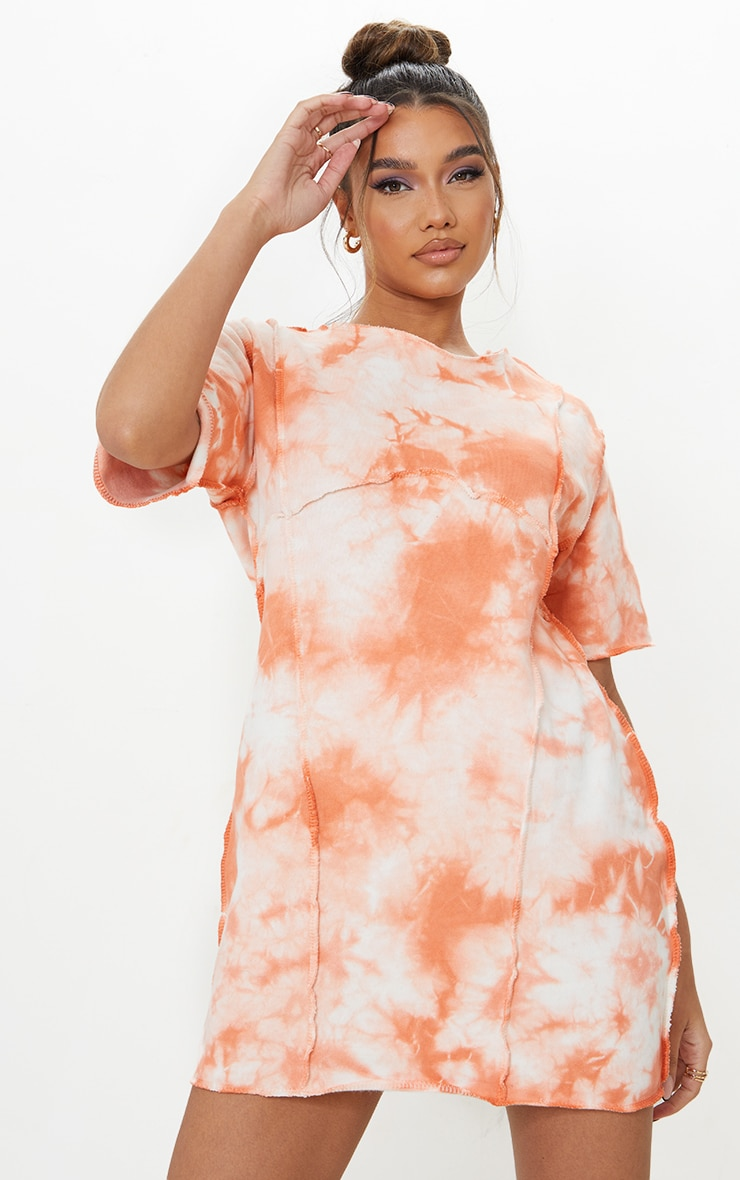 Orange Tie Dye Binding Detail Short Sleeve Sweat T Shirt Dress 1