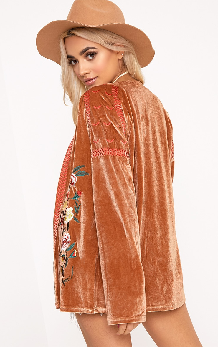 Karensa Tan Floral Embroidered Velvet Jacket 2