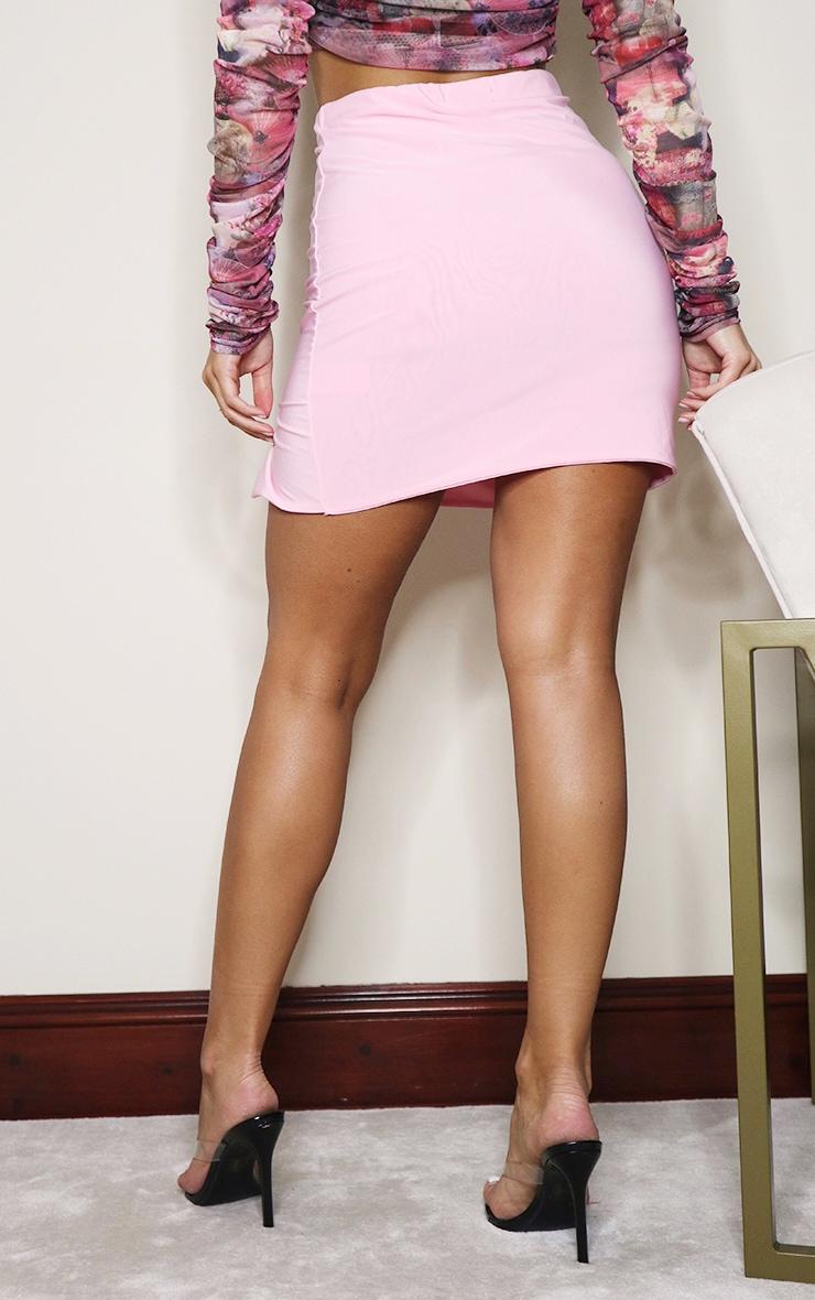 Pink Slinky Slit Hem Mini Skirt 3