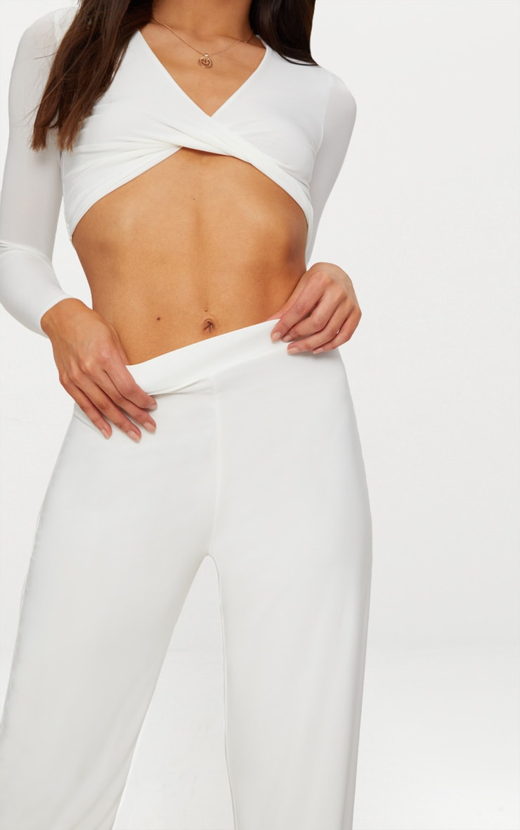 Petite White Slinky Wide Leg Pants 4