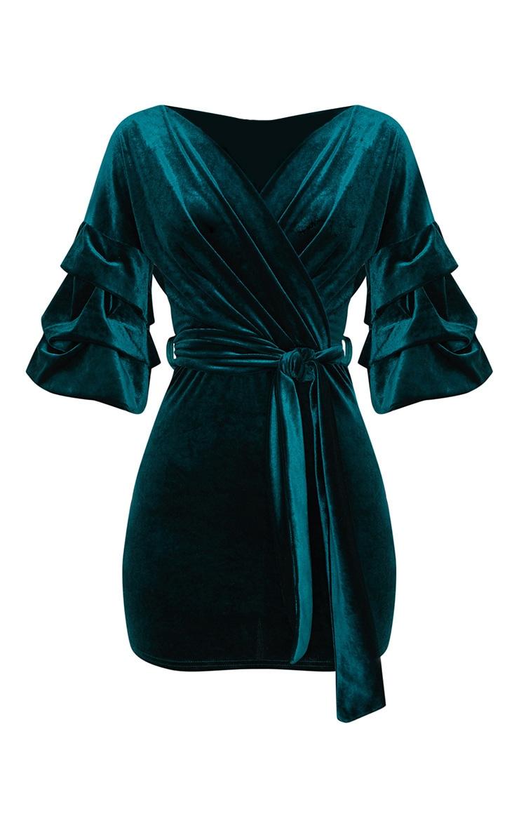 Emerald Green Tuck Sleeve Wrap front Tie Waist Midi Dress 3