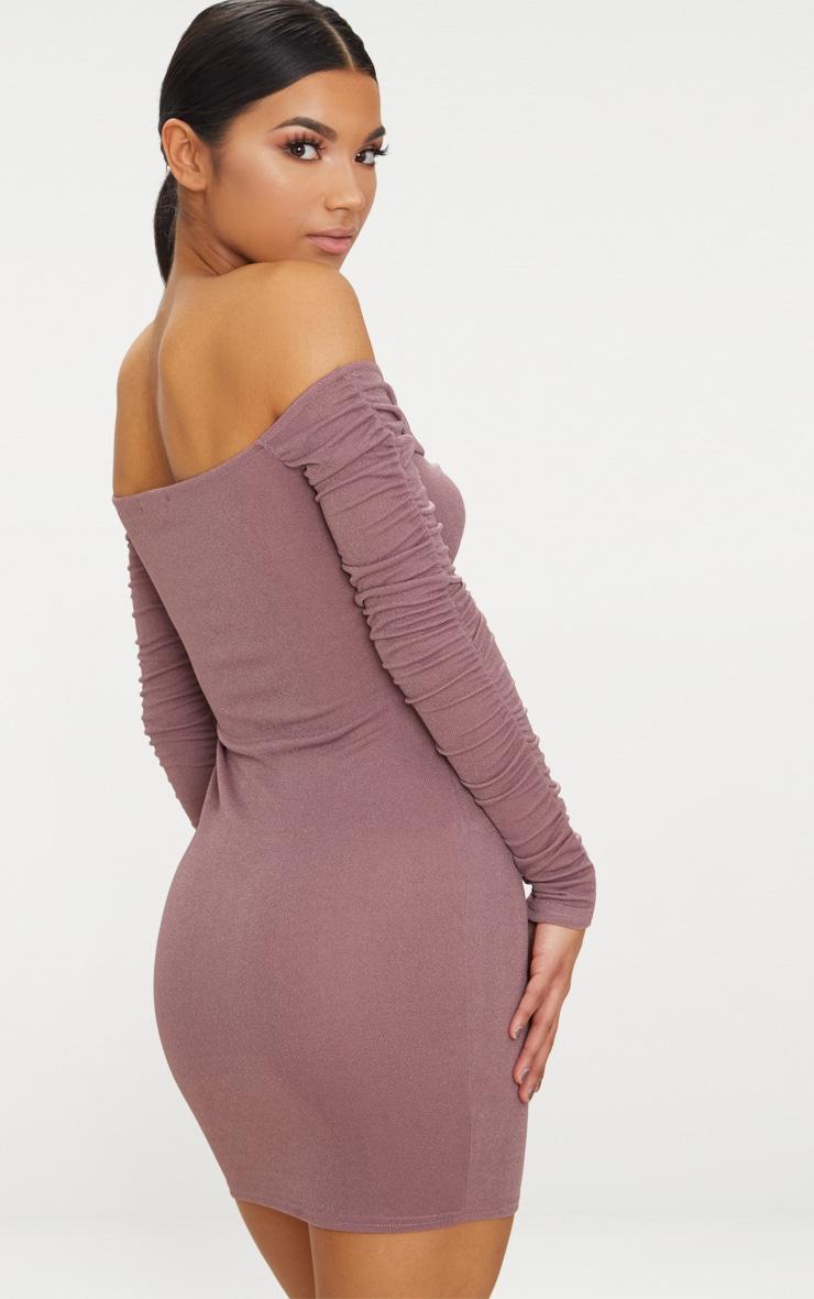 Mauve Tie Front Ruched Arm Bardot Bodycon Dress 2