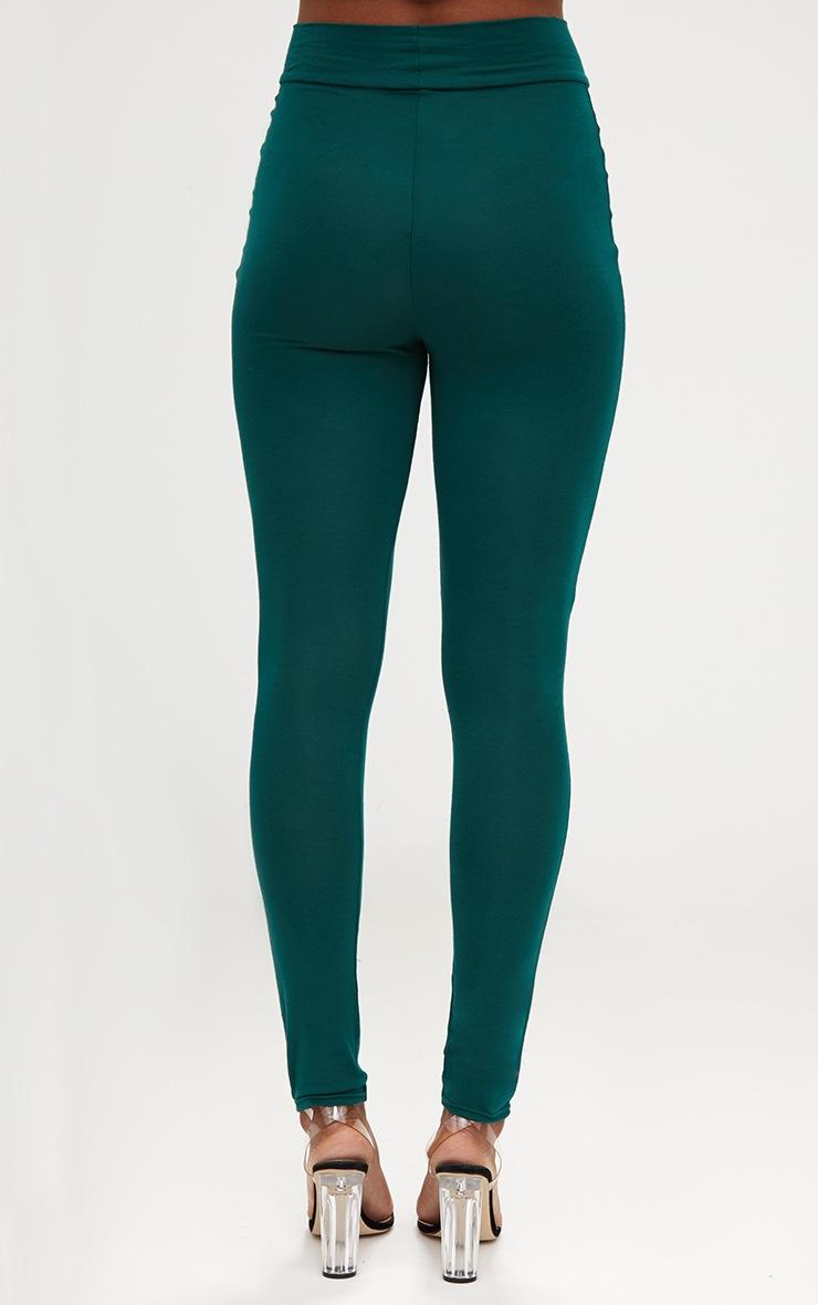 Emerald Green High Waisted Jersey Leggings 4