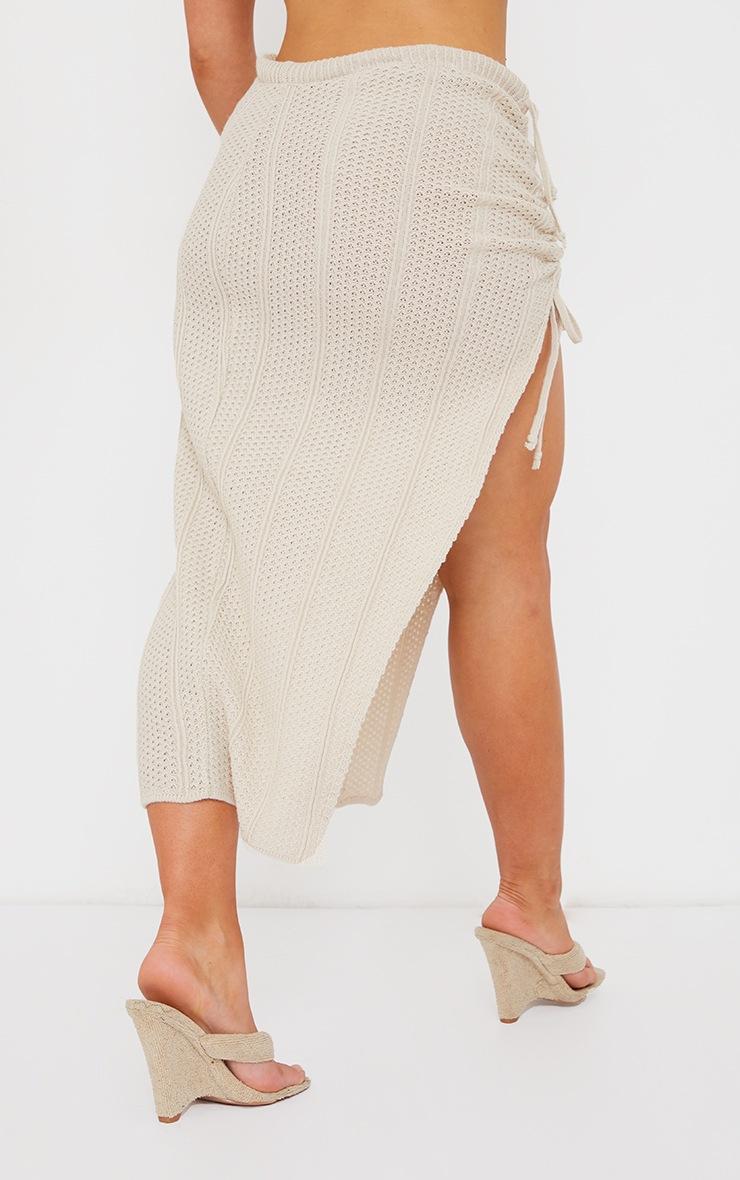 Cream Pointelle Tie Side Ruched Skirt 3