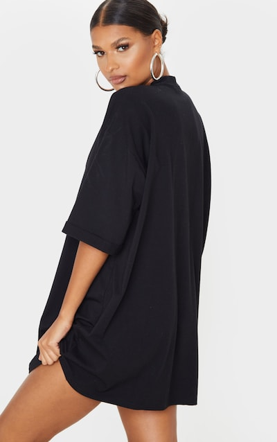 Black Real, Not Perfect Slogan Oversized T-Shirt Dress