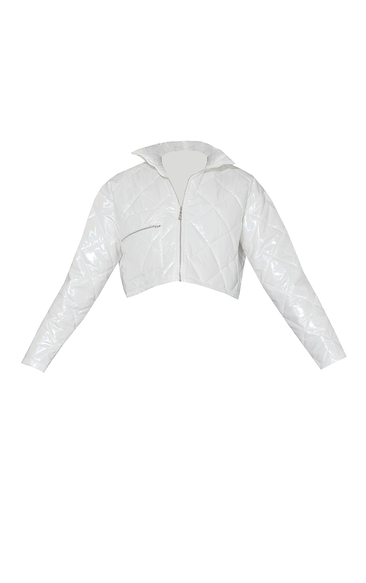 White High Shine Quilted Zip Pocket Cropped Jacket 5
