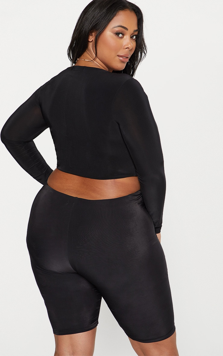 Plus Black Second Skin Square Neck Long Sleeve Crop Top 3