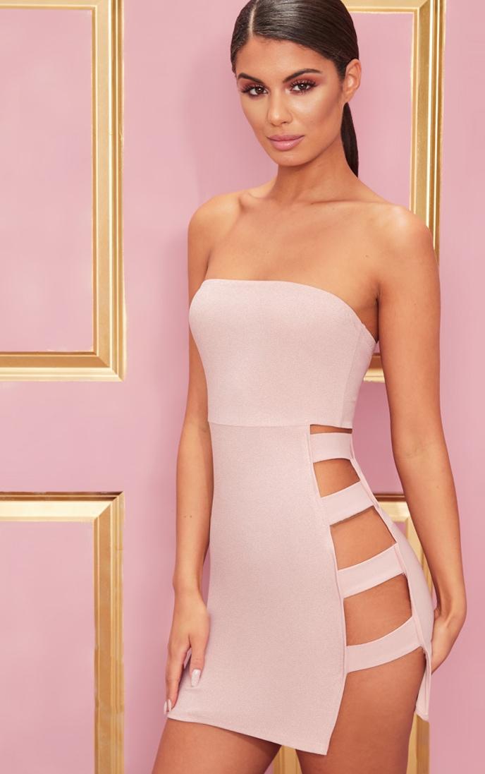 Rose Crepe  Split Side Bandeau Bodycon Dress 1