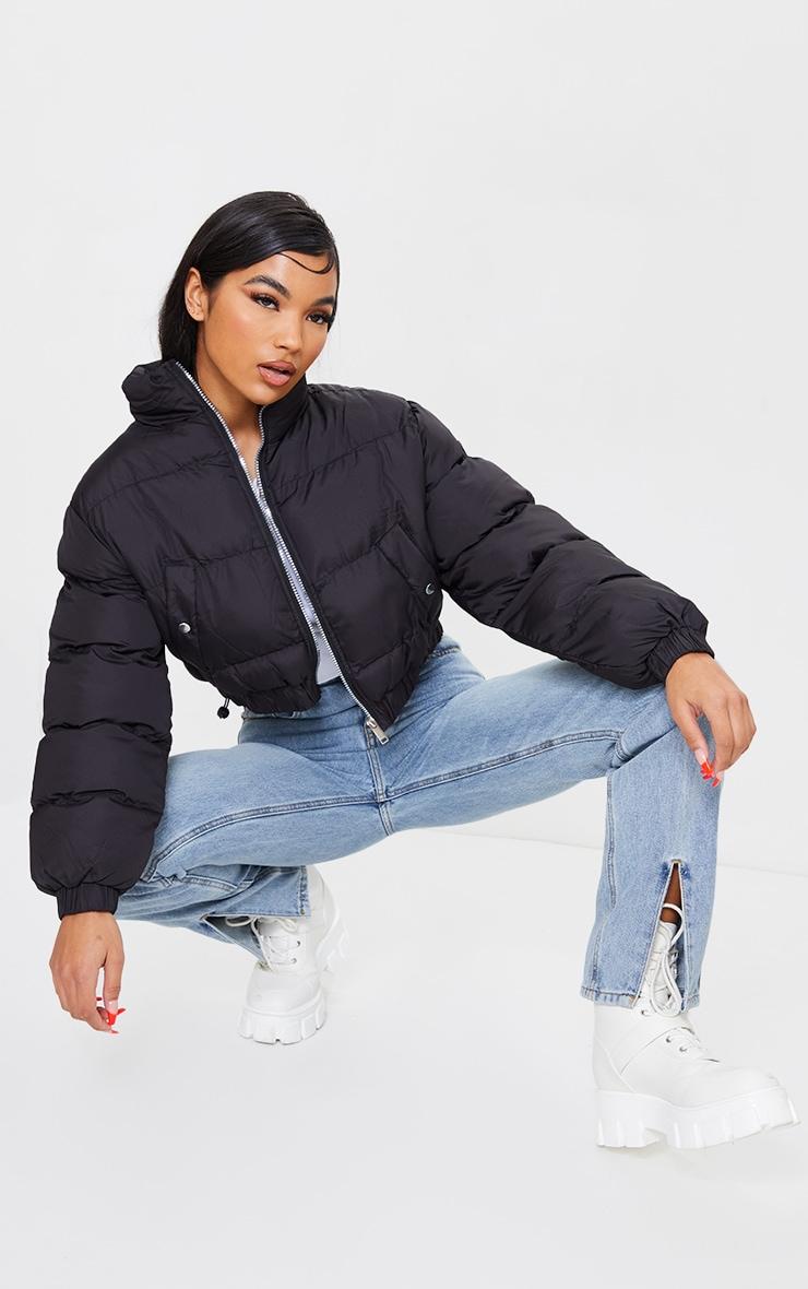 Black Cropped Elastic Hem Bubble Puffer Jacket 3