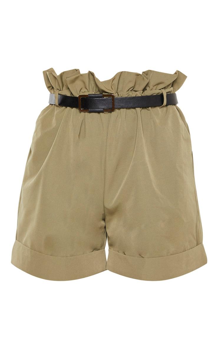 Tall Khaki High Waist Paperbag Belted Shorts 3