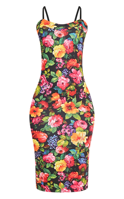 Dinah Black Floral Strappy Midi Dress 3