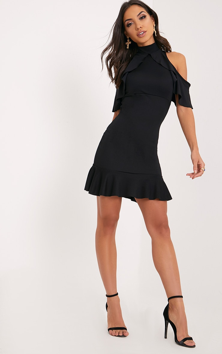 Adley Black Frill Detail Crepe Bodycon Dress 4