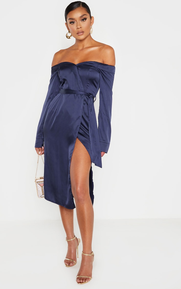 Navy Satin Bardot Lapel Detail Wrap Midi Dress 1