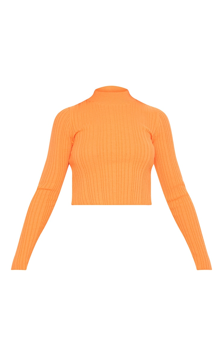 Bright Orange High Neck Knitted Rib Top  3