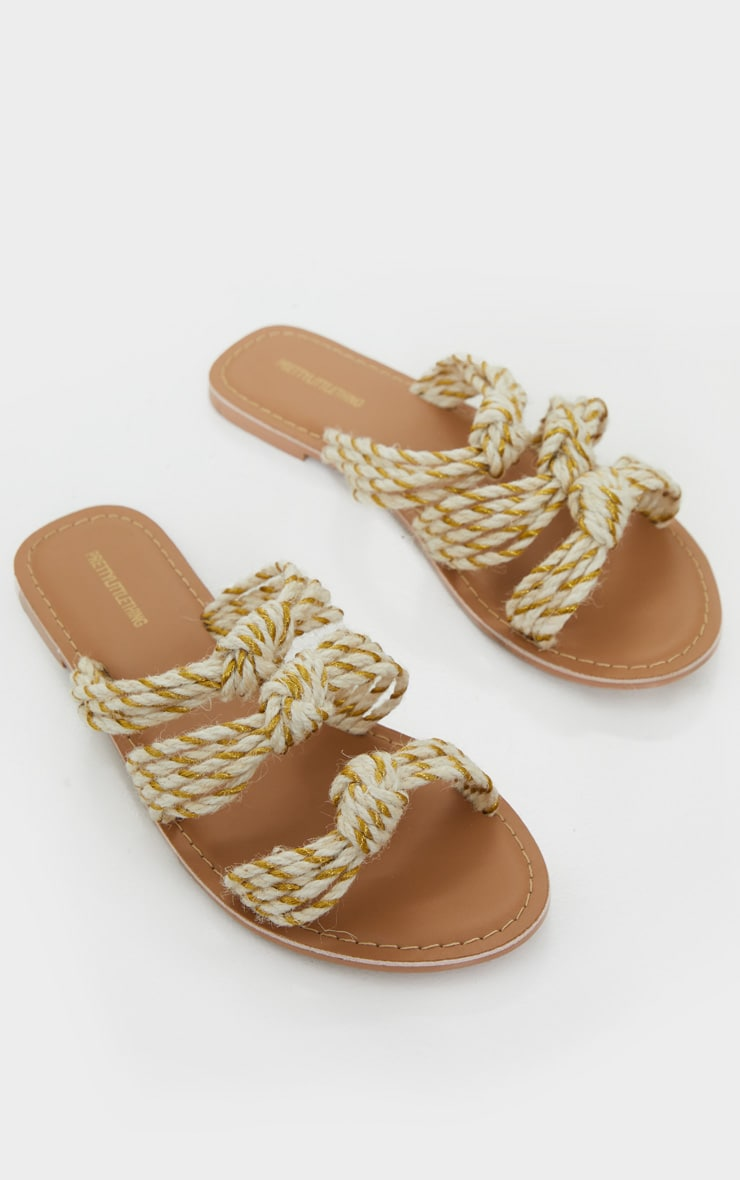Nude Triple Strap Knot Rope Sandal 3